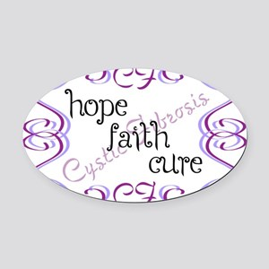 CF Hope Faith Cure Curls Oval Car Magnet
