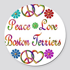 Peace Love Boston Terriers Round Car Magnet