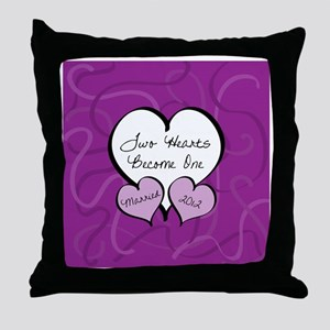 Purple Two Hearts Married 2012 Throw Pillow