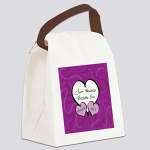 Purple Two Hearts Married 2012 Canvas Lunch Bag