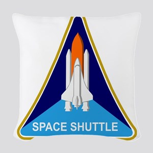 Space Shuttle Shield Woven Throw Pillow