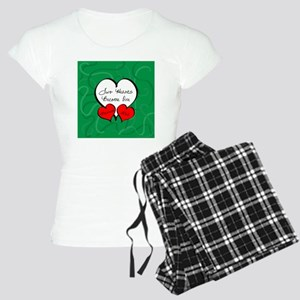 Red Green Two Hearts Marrie Women's Light Pajamas