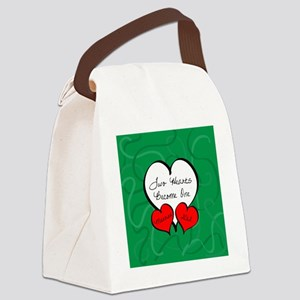 Red Green Two Hearts Married 2012 Canvas Lunch Bag