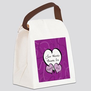 Purple Two Hearts Engaged 2012 Canvas Lunch Bag