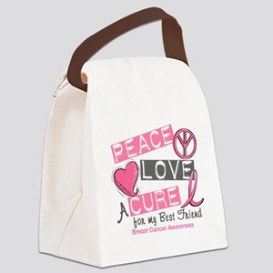- Peace Love A Cure Breast Cancer Canvas Lunch Bag