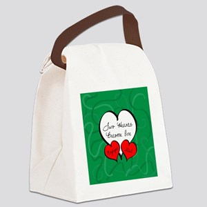 Red Green Two Hearts Engaged 2012 Canvas Lunch Bag