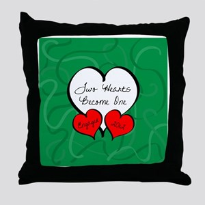 Red Green Two Hearts Engaged 2012 Throw Pillow