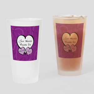 Purple Two Hearts Married 2012 Drinking Glass