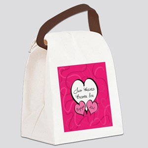 Pink Two Hearts Become One Engage Canvas Lunch Bag