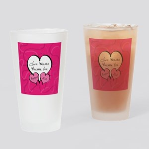 Pink Two Hearts Become One Engaged  Drinking Glass