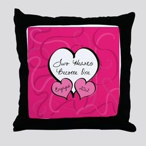 Pink Two Hearts Become One Engaged 20 Throw Pillow