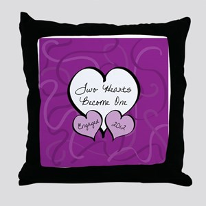 Purple Two Hearts Engaged 2012 Throw Pillow