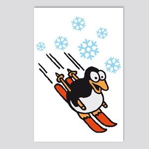penguin skiing Postcards (Package of 8)