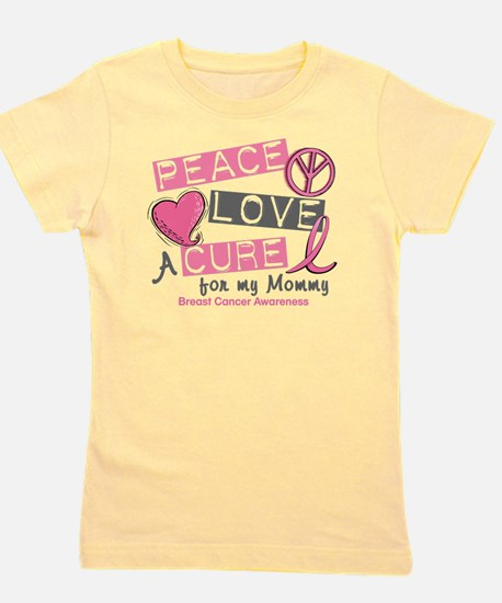 - Peace Love A Cure Breast Cancer Girl's Tee