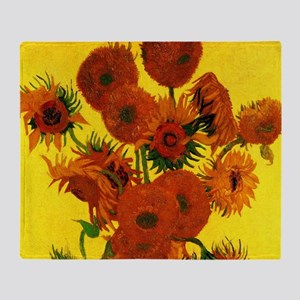 Van Gogh Fifteen Sunflowers Throw Blanket