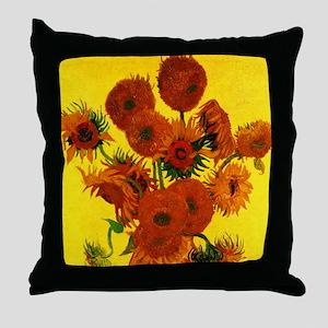 Van Gogh Fifteen Sunflowers Throw Pillow