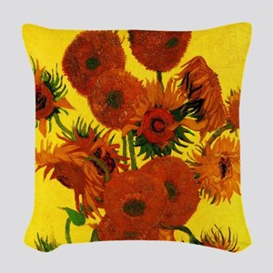 Van Gogh Fifteen Sunflowers Woven Throw Pillow