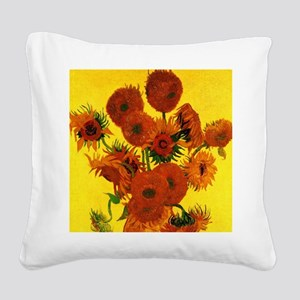 Van Gogh Fifteen Sunflowers Square Canvas Pillow