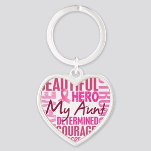 - Tribute Square Breast Cancer Heart Keychain