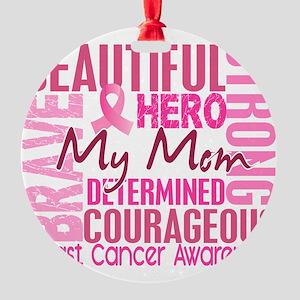 - Tribute Square Breast Cancer Round Ornament