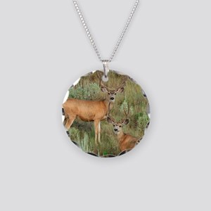 Mule deer velvet Necklace Circle Charm