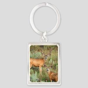 Mule deer velvet Portrait Keychain