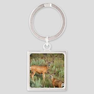 Mule deer velvet Square Keychain