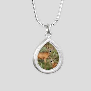 Mule deer velvet Silver Teardrop Necklace