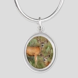 Mule deer velvet Silver Oval Necklace