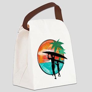 Retro Summer Time Fun Canvas Lunch Bag