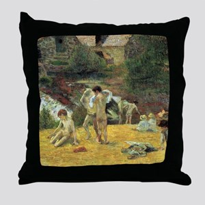 Paul Gauguin Bathing In The Mill Throw Pillow