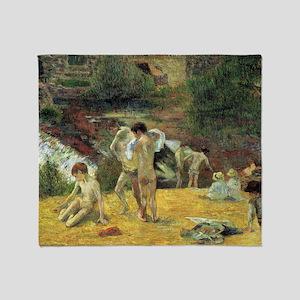 Paul Gauguin Bathing In The Mill Throw Blanket