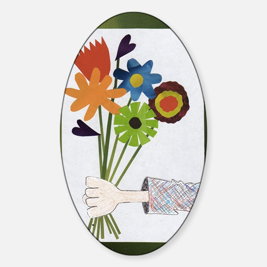 Pretty Flower Delivery Sticker (Oval)
