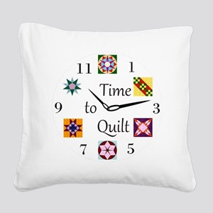Time to Quilt Clock Square Canvas Pillow