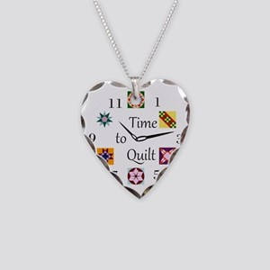Time to Quilt Clock Necklace Heart Charm