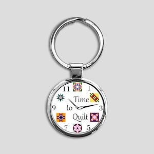 Time to Quilt Clock Round Keychain