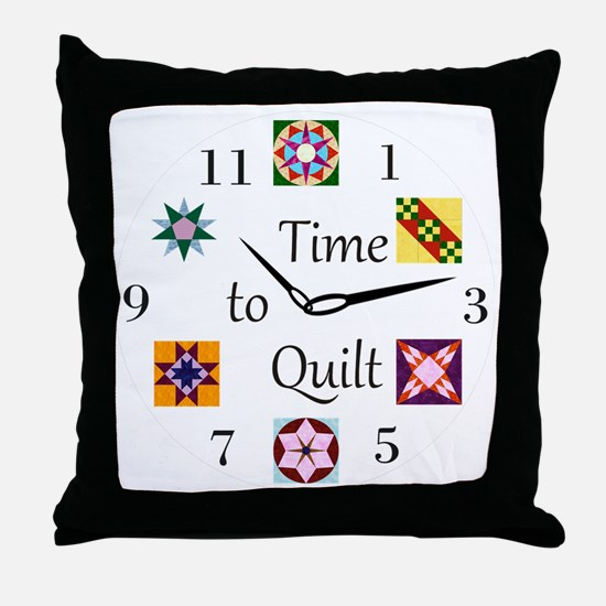 Time to Quilt Clock Throw Pillow