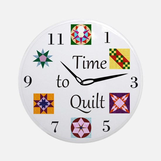 Time to Quilt Clock Round Ornament