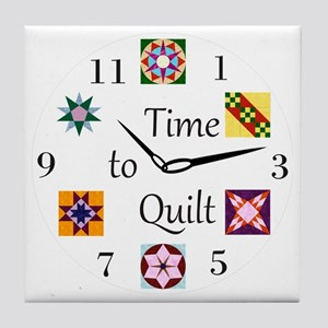 Time to Quilt Clock Tile Coaster