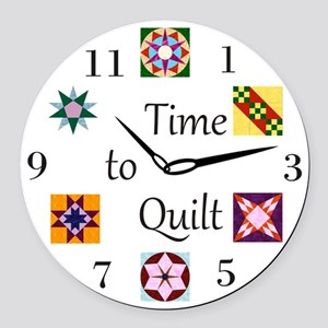 Time to Quilt Clock Round Car Magnet