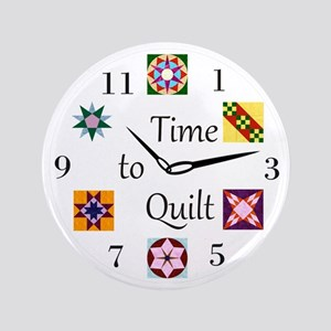 """Time to Quilt Clock 3.5"""" Button"""