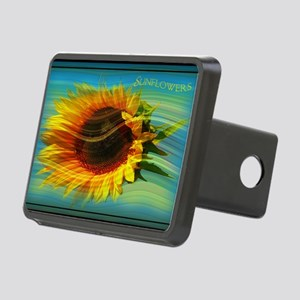 sunflower in the wind Rectangular Hitch Cover