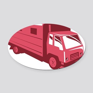 horse truck trailer retro Oval Car Magnet