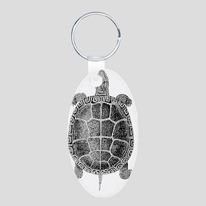 Vintage Turtle Aluminum Oval Keychain