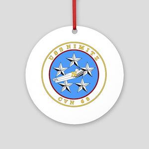 US Navy USS Nimitz CVN 68 Round Ornament