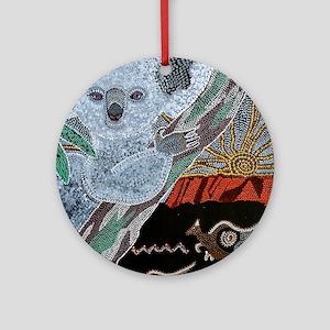 Koala  Kangaroo Sunset Round Ornament