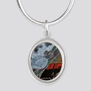 Koala  Kangaroo Sunset Silver Oval Necklace