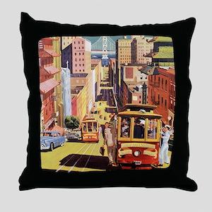 Vintage San Francisco Throw Pillow