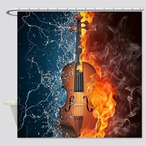 Fire and Water Violin Shower Curtain