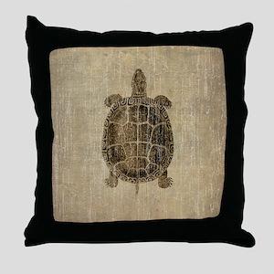 Vintage Turtle Throw Pillow